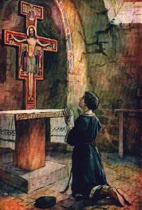 Berdoa di depan salib