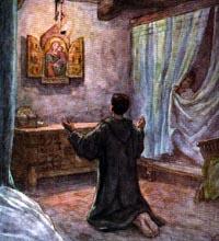 Bernardo mengintip Fransiskus berdoa