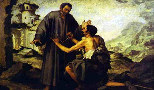 Sdr. Yuniperus memberikan jubahnya kepada pengemis - Lukisan karya Esteban Murillo (1617-1682)
