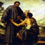 """Lukisan """"Saudara Juniper dan Pengemis"""" – karya Bartolomé Esteban Murillo (1645-1646)"""