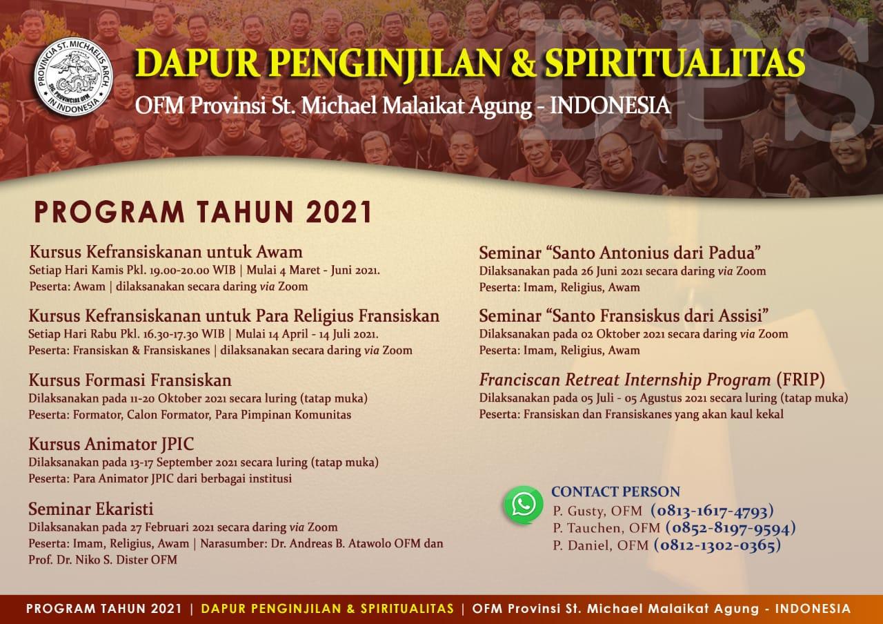 Daftar Kegiatan Dapur Penginjilan dan Spiritualitas 2021