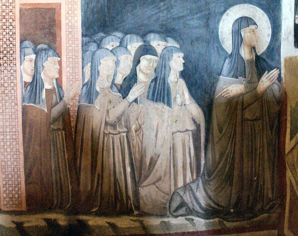 Santa Klara Assisi dan para saudarinya.