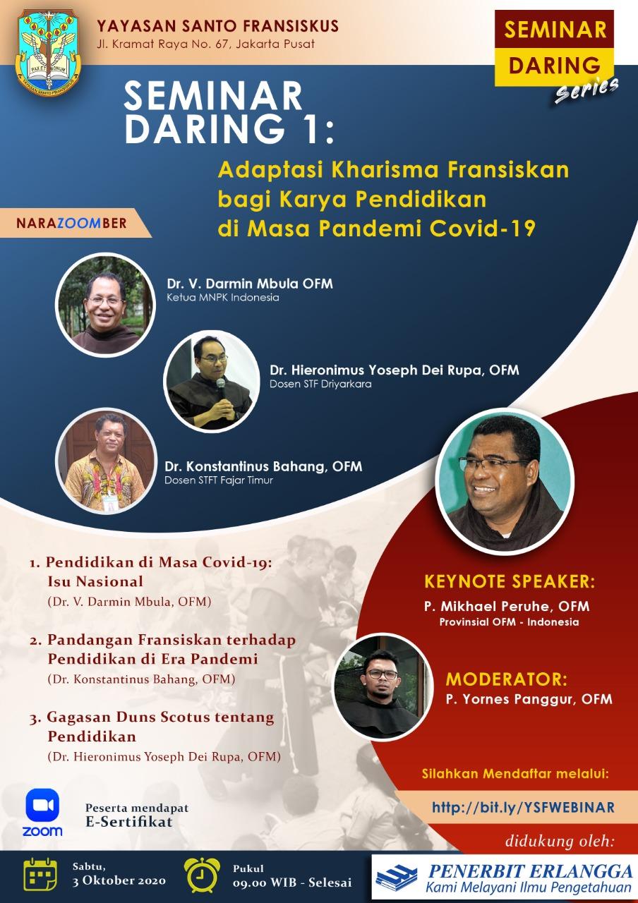 Seminar Daring – Adaptasi Kharisma Fransiskan bagi Karya Pendidikan di Masa Pandemi Covid-19
